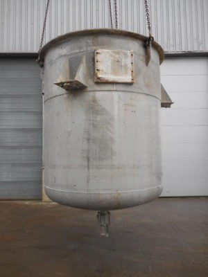 stainless steel tank, open top, dished bottom